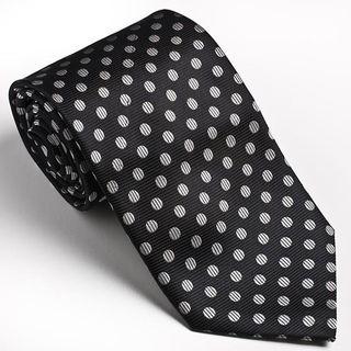 Platinum Ties Mens Black Silver Dot Tie