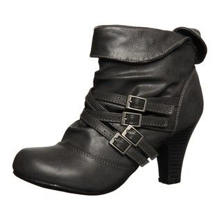 Madden Girl Womens Singsing Grey Fold over Multi buckled Booties