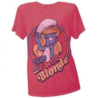 Smurfs   Life Is Better Blonde Juniors T Shirt: Clothing