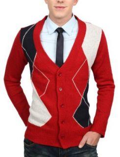 Doublju Mens Argyle Button Cardigan Sweater Clothing