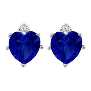 10k Gold Created Sapphire and Diamond September Birthstone Heart