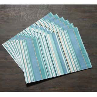 Technicolor Stripes Print 13x18 inch Indoor/Outdoor Fabric Place Mats