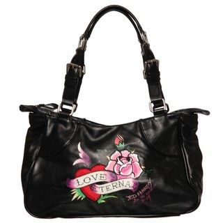 Ed Hardy Love Eternal Rose Print Tote Bag