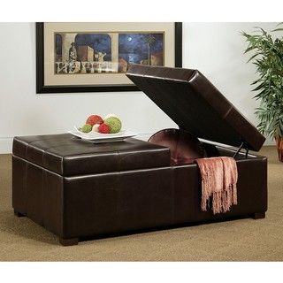 Abbyson Living Frankfurt Dark Brown Bicast Leather Double Flip top