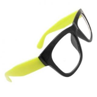 Como Women Black Plastic Full Rim Yellow Wide Temples