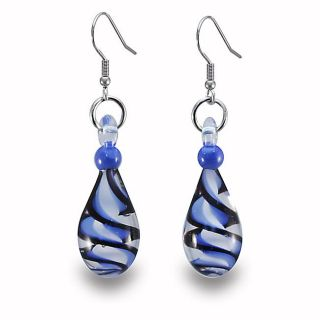 Stainless Steel Black and Blue Swirl Design Glass Earrings