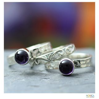 Set of 3 Sterling Silver Mystic Muse Amethyst Rings (India