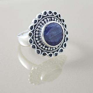 Sterling Silver Faceted Sodalite Bali Ring (Indonesia)