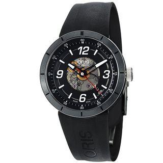 Oris Mens TT1 Black Skeleton Dial Black Rubber Strap Watch