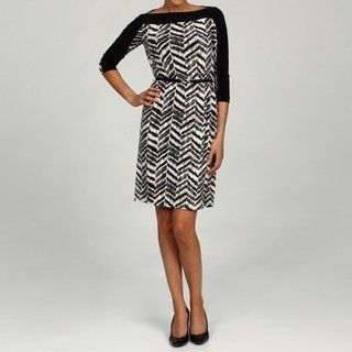 Tahari ASL Womens Zig zag Printed Jersey Dress