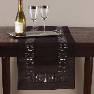 Embroidered and Sequined 72 inch Black Oblong Table Runner