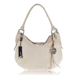 JENRIGO Italian Made Python Embossed Light Beige Leather