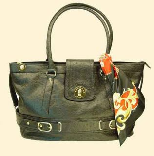 Vecceli Italy Ostrich Embossed Leather Tote Bag