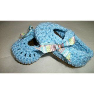 Brown & Blue Baby Mary Janes with Ribbon   Handmade Crochet Baby Shoes