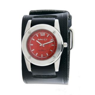 Nemesis Mens Elegant Red Carbon Fiber Face Leather Band Watch