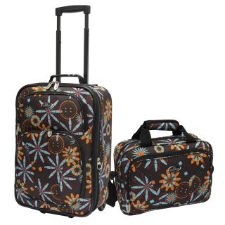 Traveler Chocolate Flower Fashion 2 piece Carry on Luggage Set
