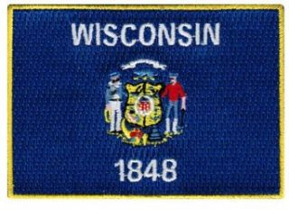 Wisconsin State Flag Embroidered Patch Iron On WI Emblem