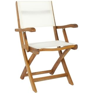 Outdoor Living Brown Acacia Wood Folding Arm Chairs (Set of 2