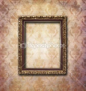 Golden frame over vintage wallpaper  Foto stock © Maria Gabriela