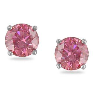 Miadora 14k White Gold 1ct TDW Pink Diamond Stud Earrings