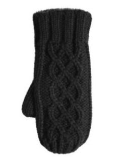 Isotoner Womens Lumpy Black Cable Knit Mittens with