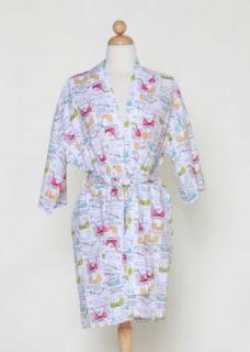 Womens Black & White Bra Pattern Kimono Style Wrap Robe