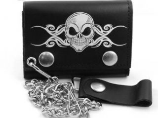 Death Skull Genuine Leather Chain Wallet #18 Clothing
