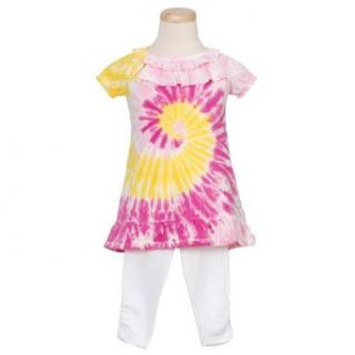 Flapdoodles Pink Spiral Tie Dye Little Girls Outfit 4
