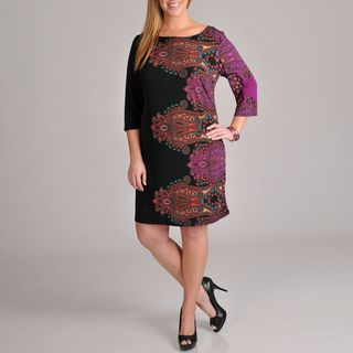 Tiana B Womens Plus Size Long Sleeve Paisley Printed Dress