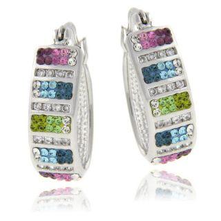 Sterling Silver Multi colored Crystal Hoop Earrings
