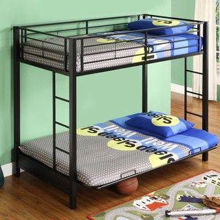 Black Metal Twin Futon Bunk Bed