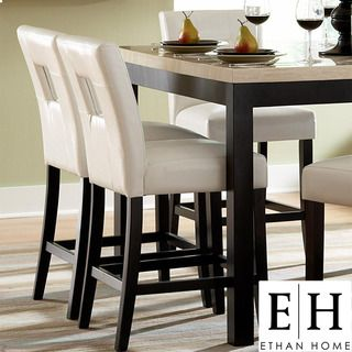 ETHAN HOME Mendoza White Keyhole Counter Height Stool (Set of 2
