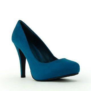 Womens Terra Deep Teal Microsuede High Heel Almond Toe Pump Shoes