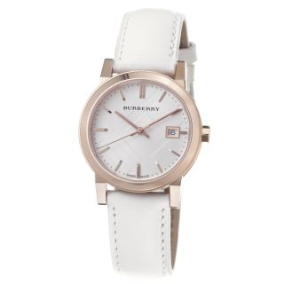 Burberry Womens Large Check Silver Dial White Leather Strap Watch