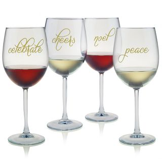 Holiday Embellished All purpose Wine Glasses (4)