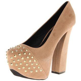 Fahrenheit Womens Anne Studded Platform Heels