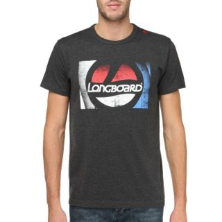 Coloris  anthracite. Tee shirt LONGBOARD Homme, 85 % coton, 15 %