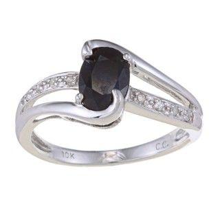 10k White Gold Blue Sapphire and Diamond Ring (G H,I1 I2)