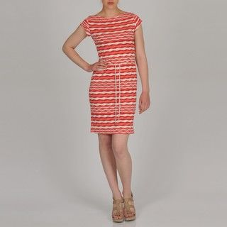 Sharagano Womens Wavy Stripe Rope Belt Dress