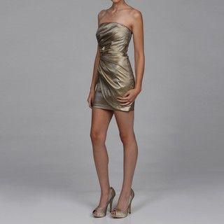 Jessica McClintock Womens Bronze Ruched Dress