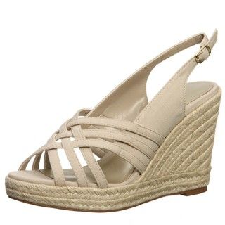 Ann Marino Womens Jukebox Natural Criss cross Wedges