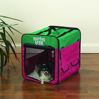 Guardian Gear Pink/ Green Small Collapsible Dog Crate