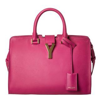 Yves Saint Laurent Cabas Classique Y Pink Leather Tote Bag