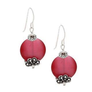 MS DJ Casanova Tierracast Dark Pink Fiber Optic Bead Earrings