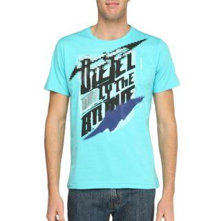 DIESEL T Shirt Plok Homme Turquoise, noir et gris   Achat / Vente T