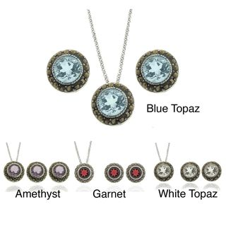 Silver Overlay Gemstone and Marcasite Circle Jewelry Set