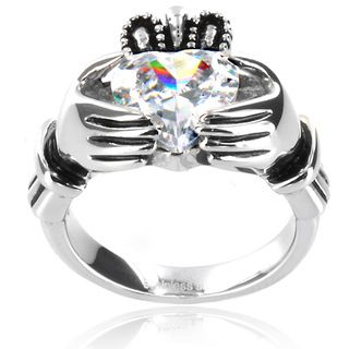 Stainless Steel Heart cut Cubic Zirconia Claddagh Ring