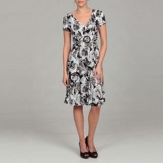 Scarlett Womens Black/ White Belted Dress