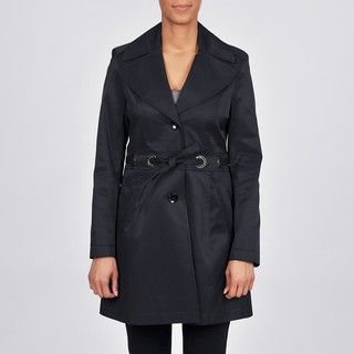 Via Spiga Womens Belted Water Resistant Trench Coat
