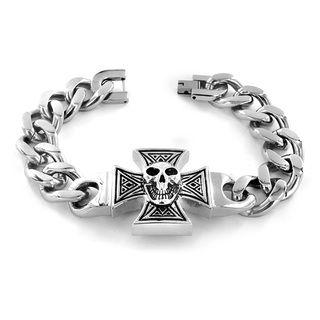 Stainless Steel Iron Cross and Skull Bracelet